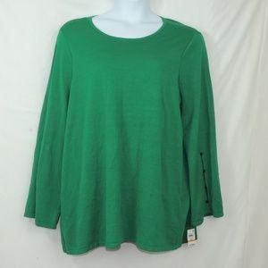 Alfani lush meadow core sweater green plus size